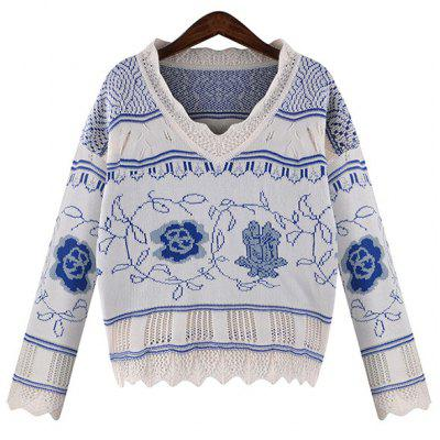 Stylish V-Neck Flower Pattern Plus Size Long Sleeve Pullover Sweater For Women