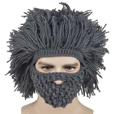 Gearbest Faux Hair Knitted Beard Face Hat  -  GRAY