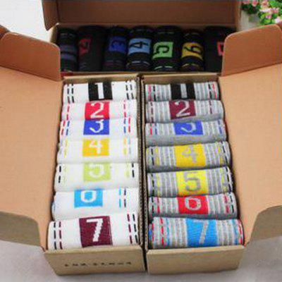 7 Pairs Of Numbers Pattern Knitted Socks For Men 837 Free