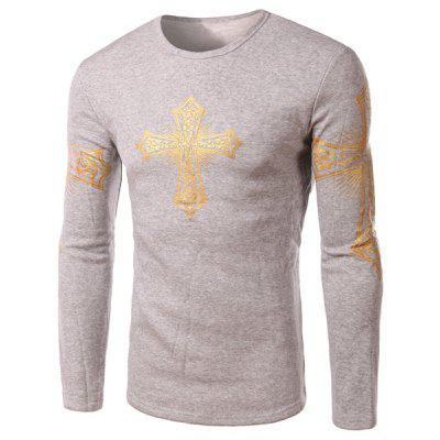 Buy LIGHT GRAY L Modern Style Round Neck Color Block Special Cross Print Slimming Long Sleeves Men's Flocky T-Shirt for $20.45 in GearBest store