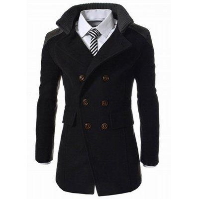 Emagrecimento Stand Collar Inclinado Top Fly Color Spliced Flap Pocket Men's Sleeves Long Peacoat