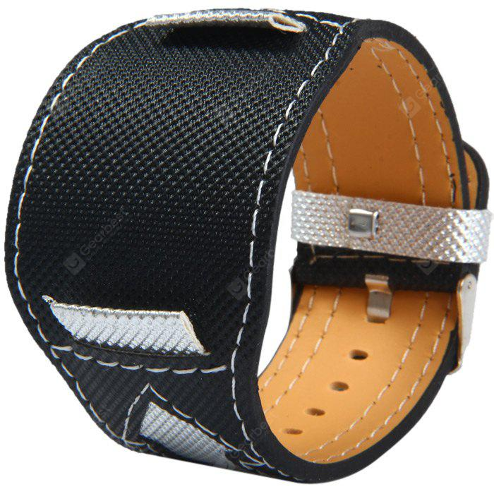 22mm Pin Buckle Canvas + Leather Band with Arrows Pattern