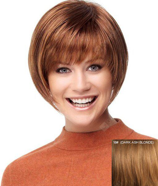 Trendy Full Bang Bob Style Straight Capless Short Human Hair Wig For Women