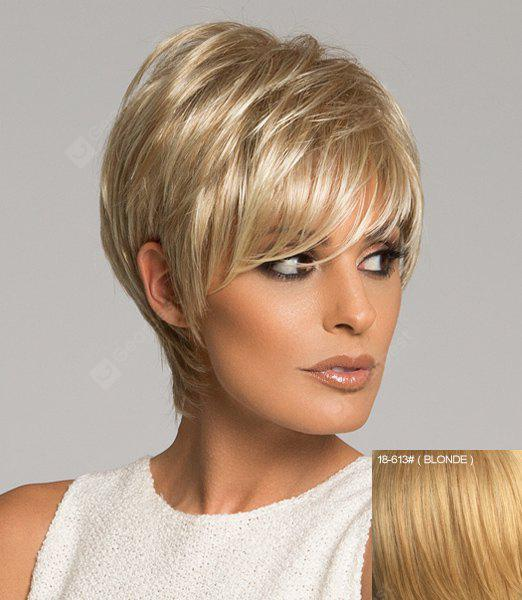 Assorted Color Graceful Side Bang Capless Short Straight Real Natural Hair Wig For Women