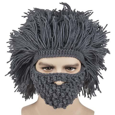 Fashionable Beard and Afro Hair Shape Design Knitted Hat For Men