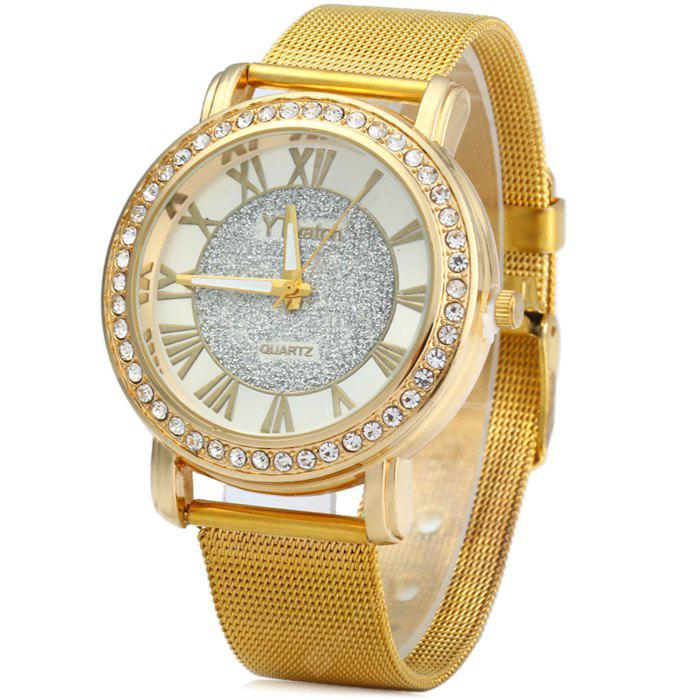YTwatch Diamond Lady Quartz Watch com banda de aço inoxidável