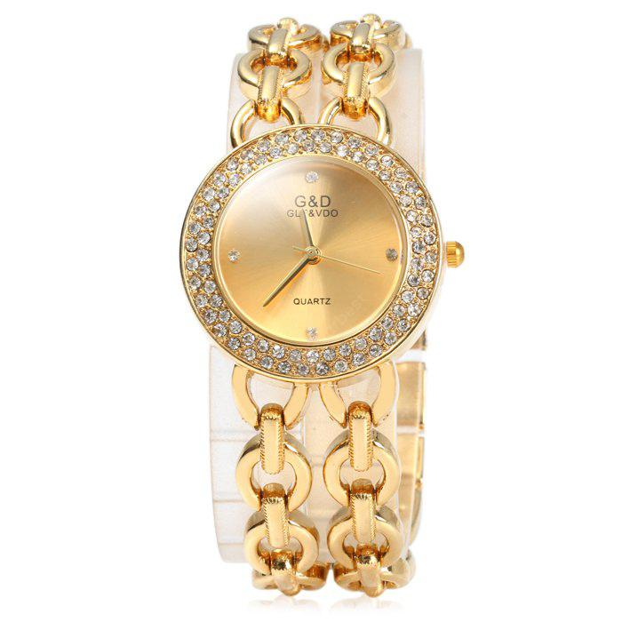 GND Diamond Women Quartz Chain Watch with Stainless Steel Strap
