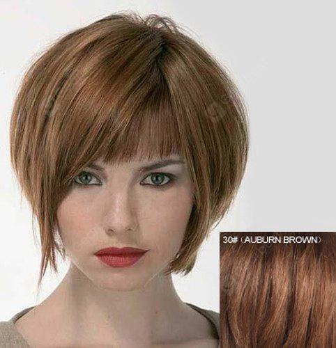 Stunning Full Bang Bouffant Straight Capless Fashion Short Real Human Hair Wig For Women