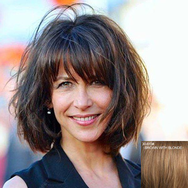 Stunning Short Capless Ladylike Full Bang Bouffant Wavy Real Natural Hair Wig For Women