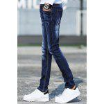 Buy Stylish Narrow Feet Cat's Whisker Scratch Design Slimming Zipper Fly Men's Ombre Jeans 32 BLUE
