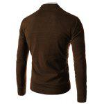Trendy Slimming V-Neck Single Breasted Solid Color Long Sleeve Polyester Cardigan Men - COFFEE