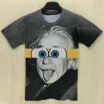 Slimming Round Neck 3D Cartoon Splicing Formula Print Short Sleeve Men's T-Shirt - BLACK