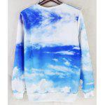 Buy Fashion Fitted Round Neck 3D Fat Cat Pattern Long Sleeve Cotton Blend Sweatshirt Men BLUE AND WHITE