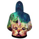 cheap Stylish Fitted Hooded 3D Cat Head Print Patterned Hoodies Long Sleeve Cotton Blend For Men