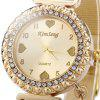 KimSeng Heart-shaped Pendant Golden Steel Net Strap Lady Quartz Watch - GOLDEN