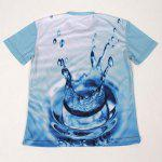 Fashion Slimming Round Neck 3D Water Pattern Short Sleeve Cotton Blend T-Shirt For Men deal