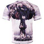 Stylish Slimming Round Neck 3D Mushroom Cloud Pattern Short Sleeve Cotton Blend T-Shirt For Men deal