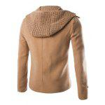 Buy Fashion Slimming Hooded Faux Twinset Solid Color Long Sleeve Woolen Blend Coat Men CAMEL