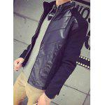 Buy Slimming Stand Collar Long Sleeve Kintting Splicing PU-Leather Men's Jacket BLACK