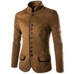 Trendy Slimming Stand Collar Single Breasted Color Block Edging Long Sleeve Woolen Blend Blazer For Men - CAMEL