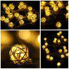 4m Rotan Ball LED String Light - WARM WIT LICHT