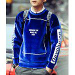 Buy Hip-Hop Round Neck Hit Color Letters Print Long Sleeves Men's Mercerized Velvet Sweatshirt S SAPPHIRE BLUE