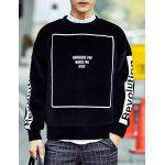 Buy Hip-Hop Round Neck Hit Color Letters Print Long Sleeves Men's Mercerized Velvet Sweatshirt L BLACK