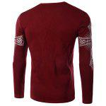 Modern Style Round Neck Color Block Special Cross Print Slimming Long Sleeves Men's Flocky T-Shirt XL RED