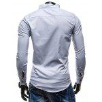 Slimming Stand Collar Personality Button Fly Hit Color Covered Edge Men's Long Sleeves Shirt - WHITE