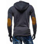 Buy Classic Color Spliced Applique Button Pocket Embellished Hooded Long Sleeves Men's Slim Fit Hoodie M DEEP GRAY