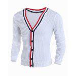 Color Block Braid Button Fly Stripes Pattern V-Neck Long Sleeves Men's Slimming Cardigan - WHITE