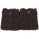 Buy Pair Chic Button Embellished Hollow Mesh Shape Knitted Boot Cuffs Women COLOR ASSORTED