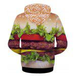 Modish Fitted Hooded 3D Hamburger Patterned Hoodies Long Sleeve Cotton Blend For Men - COLORMIX