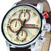Curren 8170 Male Quartz Watch with Stereo Scale Leather Band - YELLOW