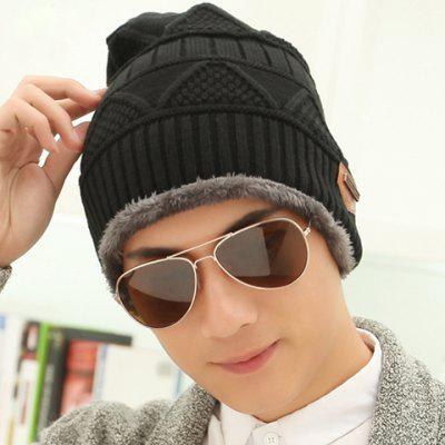 Stylish Label Embellished Triangle Jacquard Knitted Beanie For Men