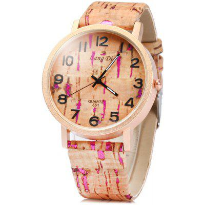 Lang Di 561 Male Quartz Watch with Wood Grain Leather Strap