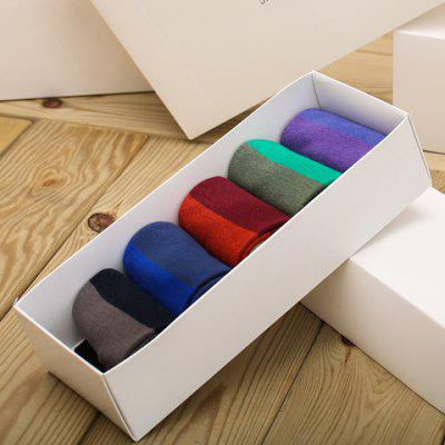 5 Pairs of Stylish Wide Stripe Pattern Multicolor Socks For Men