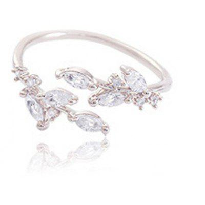 Chic Rhinestone Tree Leaf Cuff Ring For Women