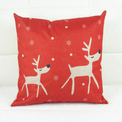 Fashion Christmas Deer Pattern Square Decorative Pillowcase (Without Pillow Inner)