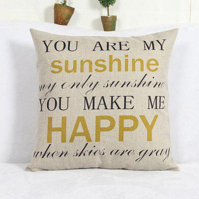 Modern Square Letter Pattern Linen Decorative Pillowcase (Without Pillow Inner)