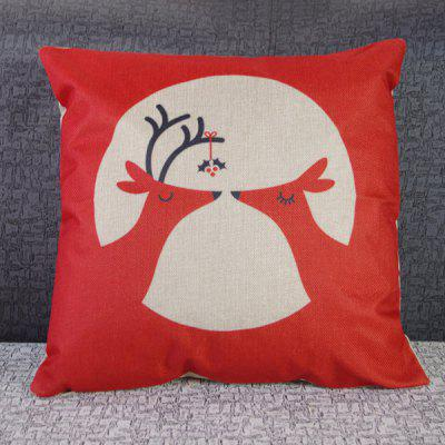 Modern Christmas Deer Pattern Square Decorative Pillowcase(Without Pillow Inner)