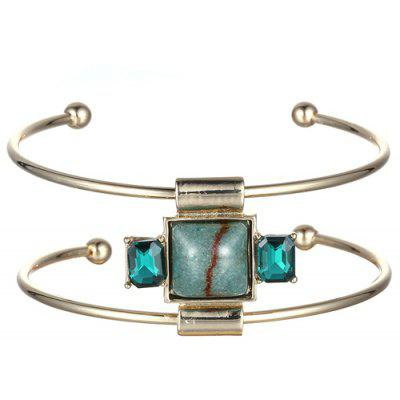 Square Faux Gemstone Double-Layered Cuff Bracelet