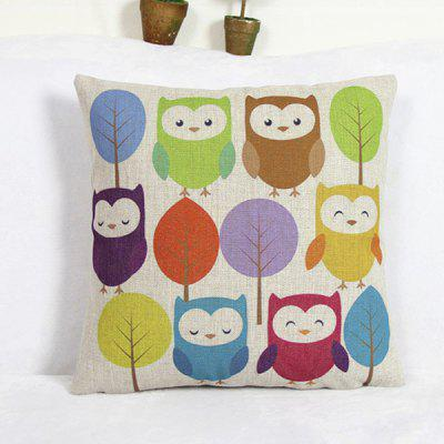 Modern Square Owl Pattern Decorative Pillowcase(Without Pillow Inner)