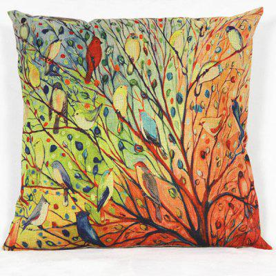 Cartoon Bird Pattern Decorative Pillowcase(Without Pillow Inner)