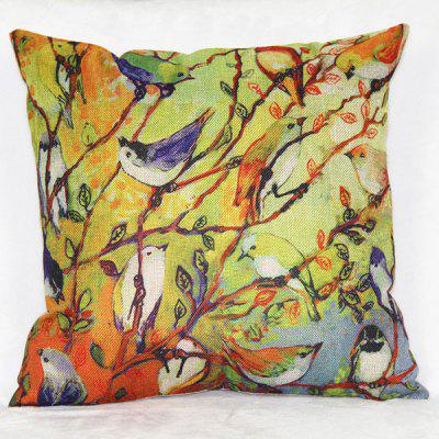 Colorful Linen Bird Pattern Decorative Pillowcase(Without Pillow Inner)