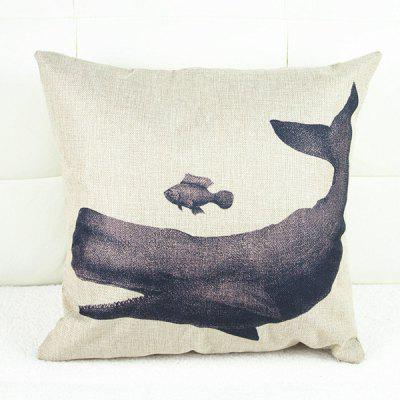 Fashion Square Whale Pattern Decorative Pillowcase(Without Pillow Inner)