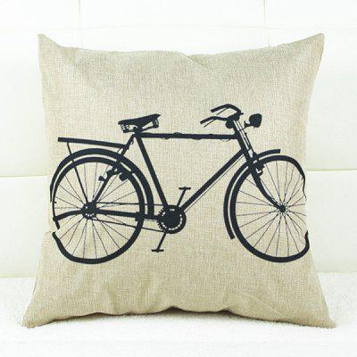 Fresh Bicycle Pattern Linen Decorative Pillowcase(Without Pillow Inner)