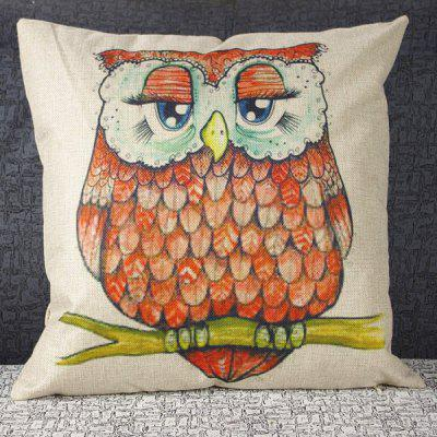 Colorful Square Owl Pattern Decorative Pillowcase(Without Pillow Inner)