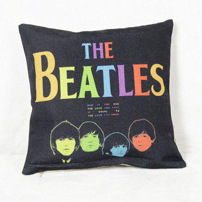 Simple The Beatles Pattern Square Decorative Pillowcase(Without Pillow Inner)