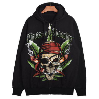 Hip-Hop Drawstring Hooded Special Skulls Print Rib Spliced Long Sleeves Men's Thicken Hoodie